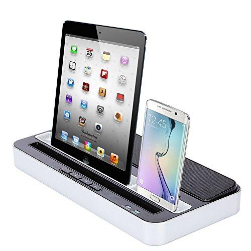 Dual Estación De Carga acoplamiento, Estéreo Altavoz Speaker - Cargador Charger Dock Station Soporte para iPhone 8 X Plus, 7/6/5, iPad 4 Mini Air Pro, Samsung HTC Android Teléfonos con Micro-USB
