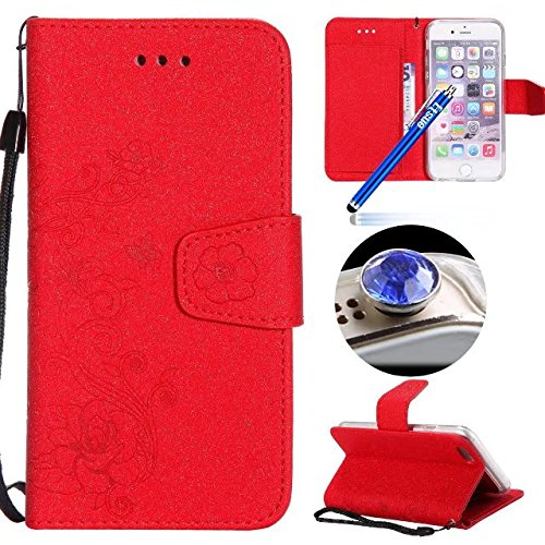 Custodia iPhone 7 pelle,Cover iPhone 7 Portafoglio,Etsue Custodia Cover Ultra Slim Leather Pu Wallet Flip Protective Case Cover Custoida Lusso Puro Relief Goffratura Fiori Fiore Farfalle Modello in Pe Rossa