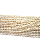 #10: Beadsnfashion Jewellery Making Acrylic Pearl Drop Beads Ivory 9x6 mm, Pack of 12 Strings of 35 Inch