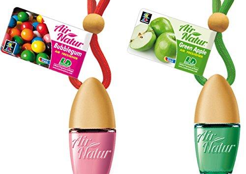 2 Stylisch-modische Air Natur Little Bottle Duftflakons Lufterfrischer Auto- und Raumduft 6ml - Duftsorte Bubble Gum - Kaugummi + Green Apple - Apfel
