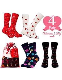 Tacobear 4 Pares San Valentin Calcetines Mujer Calcetines Corazón Calcetines Calcetines Hombres con Embalaje de Regalo