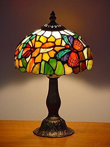 Schmetterlings-Art Tiffany-Tabellen-Lampe mit W: 8 Zoll-Schatten-Buntglas-Metall Basis-Ende Antike Messinggebrauch nur Innenraum