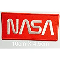 1 X NASA Iron On Patch White & Red by (Nasa Patch)