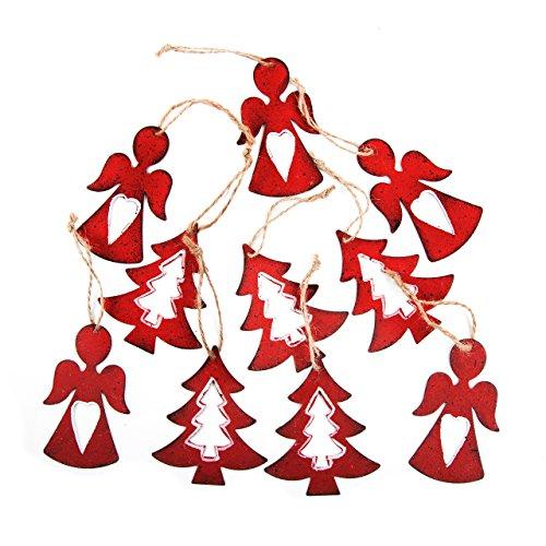 2 x 10 decorazioni natalizie in metallo con ciondolo a forma di angelo + albero rosso vintage per regali di natale