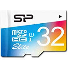 Silicon Power Elite -  Tarjeta con adaptador 32 GB microSDHC UHS-1 Class 10,  lectura 85 MB / s de disparo continuo de alta velocidad y vídeo Full-HD de grabación (SP032GBSTHBU1V20JP)