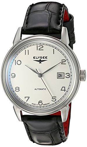 ELYSEE Made in Germany Vintage Master 80545 40mm Automatic Stainless Steel Case Black Calfskin Synthetic Sapphire Men's Watch