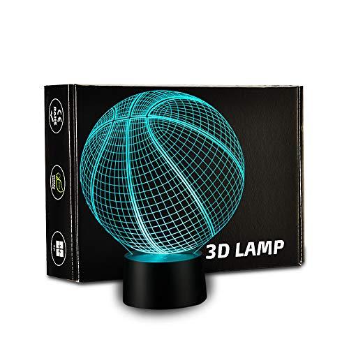 Fußball-Lampe, 3D-Lampe, LED-Nachtlichter, Touch-Schreibtisch-Schreibtisch, optische Folien, 7 Farben, wechselnde Lichter, Geburtstagsgeschenk, Weihnachtsgeschenk, Lichter, 1,5 m USB-Anschluss Basketball