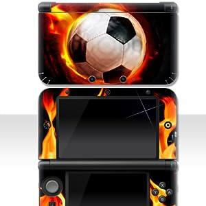 """Nintendo 3DS XL Skin """" FOOTBALL FLAME """" Aufkleber Sticker Folie Schutzfolie"""