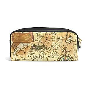 coosun Viejo Pirata Mapa con rosa de los vientos estudiantes estuche de piel sintética gran capacidad Escuela Pluma bolso de la bolsa Papelería Caso Maquillaje bolsa de cosméticos
