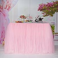 Falda de la tabla, gasa romántica del escritorio de Tulle, decoración de la tabla, copo de nieve Tela de tabla del tutú de las maravillas, para la ducha de bebé, boda, cumpleaños, partido, barra, baile de fin de curso, día de tarjeta del día de San Valentín (Durazno)