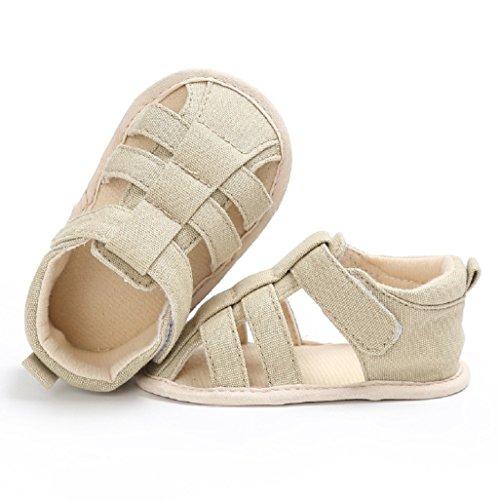 Für 3-18 Monate, Auxma Baby-Mädchen-Jungen-weiche alleinige Krippe-Kleinkind-Neugeborene Sandelholz-Schuhe (6-12 M, Beige) Beige