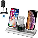 Supporto di Ricarica per iWatch, Qi wireless caricatore supporto di ricarica wireless veloce docking station per Apple Watch Stand Airpods iPhone X/8 Plus/XS MAX/XR e Iwatch Series 4/3/2/1--argento