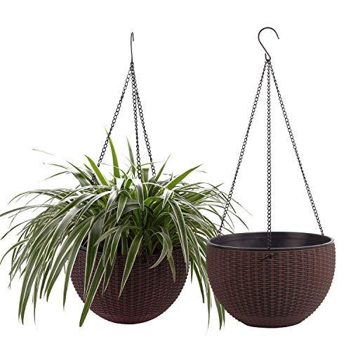 comsaf auto irrigazione vaso per piante sospese marrone 25.5cm plastica set di 2, fioriere con drenaggio cestini per fioriere sospese vasi sospesi per piante casa e giardino balcone decorazione