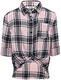 M&Co Girls Viscose Long Turn Up Sleeve Button Down Knot Front Chest Pocket Metallic Check Pattern Shirt
