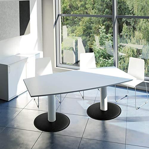 WeberBÜRO Optima Konferenztisch Bootsform 200x100 cm Besprechungstisch Lichtgrau Tisch Esstisch Küchentisch
