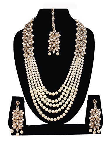 SADHANA COLLECTION White Kundan Pearl Necklace Set With Earrings For Women