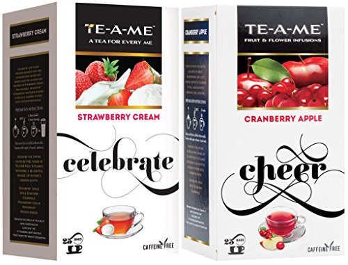 Te-a-me Cranberry Apple Fruit And Flower Herbal Tea Infusion & Strawberry Cream Infusion Tea Combo - 50 Tea Bags