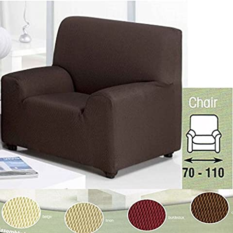 Easy Fit Stretch Elastic Arm Chair One Seater Chocolate Brown