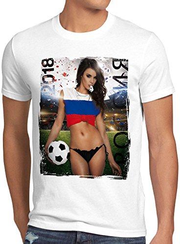 style3 WM 2018 Soccer Girl Deutschland Herren T-Shirt Fußball Trikot Germany Weiss, Größe:M, Land:Russland