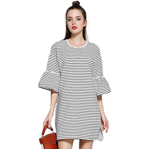 Fur Story 17B108 Femme Robe miniature d¨¦contract¨¦e couleur contrast¨¦e Blanc
