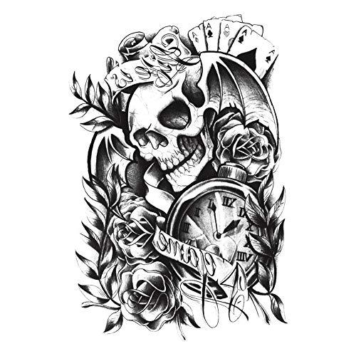 b3a72544b BFHCVDF Water Resistant Skull Floral Tattoo Sticker Punk Fashion Tattoo  Pattern Black