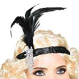 Goods & Gadgets Charleston 20er Jahre Stirnband mit Feder Kopfschmuck Haarband für Burlesque Kostüm Kleid Outfit Accessoire