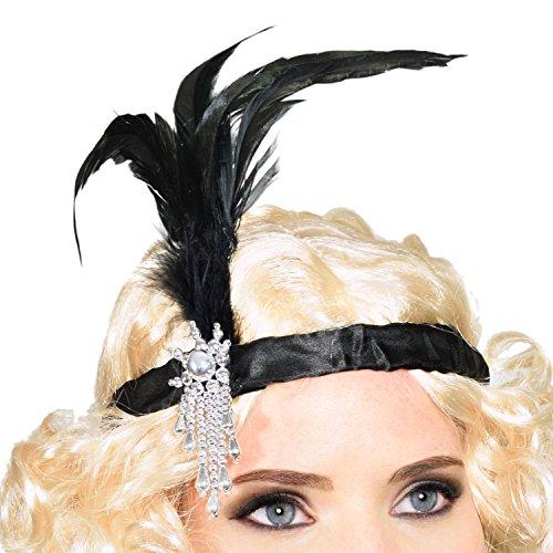 Charleston 20er Jahre Stirnband mit Feder Kopfschmuck Haarband für Burlesque Kostüm Kleid Outfit Accessoire