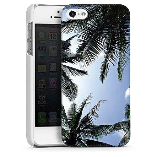 Apple iPhone 4 Housse Étui Silicone Coque Protection Palmiers Ciel Nature CasDur blanc