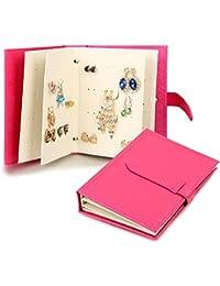 JewelryWe Joyería Joyero de Pendientes En Forma de Libro Guaderno, Caja Organizador de Joyas Portátil, Little Book Of Earrings, Caja Para Pendientes Bisuteria, Color Rosa