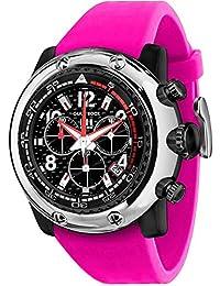 Glam Rock Unisex Miami Beach 50mm fuchsia Silikon Band Polycarbonat Fall Quarz Schwarz Zifferblatt Armbanduhr gr20146