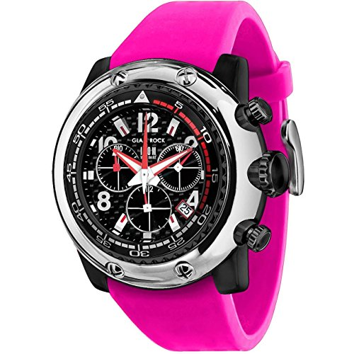 Glam Rock Unisex Miami Beach 50mm Fuchsia Silicone Band Polycarbonate Case Quartz Black Dial Watch GR20146
