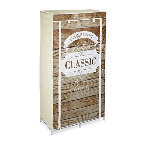Relaxdays Faltschrank in Holz-Optik HBT: ca. 161 x 83,5 x 42,5 cm Kleiderschrank aus Stoff Wäscheschrank mit 6 Ablagen und Kleiderstange Stoffschrank als Garderobenschrank und Campingschrank, Wardrobe