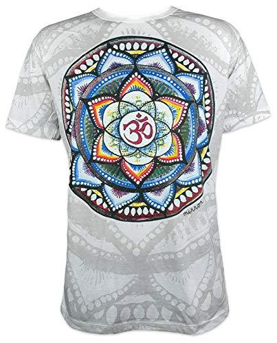 Mirror Herren T-Shirt - Om Mandala Yoga Hindu Indien Aum Buddha Yogi Zen Buddhismus Hinduismus Shiva Indien Ärmelfrei Männer Freizeit Kurzarm (Weiß XL)