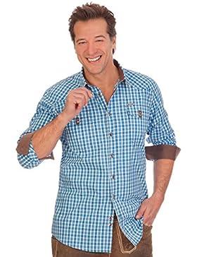 H1506 - Trachtenhemd langer Arm - WASHINGTON - blau, apfelgrün