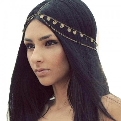 Jane Stone Damen Haarschmuck Boho Haarband goldfarbene Charms Festival Kopfschmuck Haarkette aus Metalllegierung