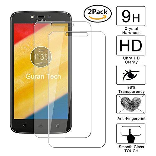 Guran® [2 Stück] Displayschutz Glasfolie für Motorola Moto C Plus Smartphone Hartglas Schutzfolie Film 3D Touch Kompatibel Panzerglasfolie