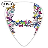 Guitar Picks - Abstract Art Colorful Designs,Cute Pattern Colorful Butterflies Lepidoptera Family Girls Exotic Nature Font,Unique Guitar Gift,For Bass Electric & Acoustic Guitars-12 Pack