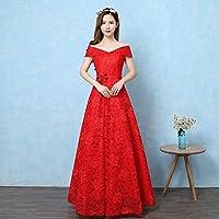 YL LY Vestido de Cintura Alta Era Vestido Rojo Largo Novia Grande de la Boda,UN,L