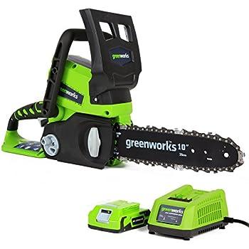 Greenworks Tronçonneuse sans fil sur batterie 25cm 24V Lithium-ion avec batterie 2Ah et chargeur - 2000007VA
