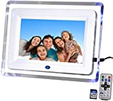 "DIGIFLEX 7"" High Resolution Digital Photo Frame with Blue Backlight + 8GB SD Memory Card & Remote - New Version 2"