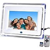 "DIGIFLEX 7"" High Resolution Digital Photo Frame with Blue Backlight + 8GB SD Memory Card & Remote - New Version 2"