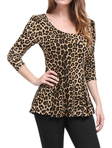 Allegra K Women's Long Sleeves Scoop Neck Leopard Prints Peplum Shirt Top