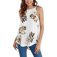TWBB Damen Oberteile Ärmellos Blume Gedruckt Bluse Tank Tosp Casual Weste T-Shirt