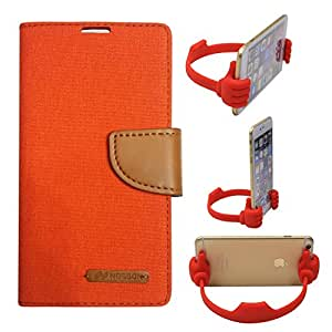 Aart Fancy Wallet Dairy Jeans Flip Case Cover for Apple4G (Orange) + Flexible Portable Mount Cradle Thumb OK Designed Stand Holder By Aart Store.