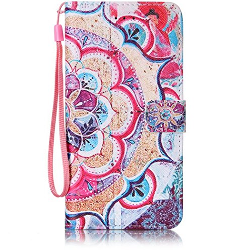 Ledowp Apple iPhone 7 Plus custodia portafoglio, copertura integrale design pattern custodia in similpelle di copertura con slot per schede per iPhone 7 Plus blu Elephant #1 Datura Flower #2