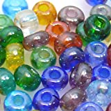 80 große Rocailles 2/0 Perlen Glasperlen Farben-Mix 6mm bunt -401