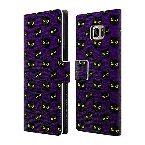Head Case Designs Offizielle PLdesign Purpurrot Katze Muster Halloween Brieftasche Handyhülle aus Leder für Samsung Galaxy S7 Edge