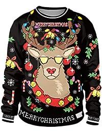 JOLIME Weihnachtspullover Herren Damen Rudolf Schneemann Rentiere Motiv Christmas Sweatshirt