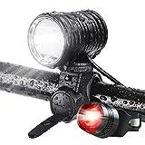 LED Fahrradbeleuchtung, 1200 Lumen, superhell, LED Frontscheinwerfer, Fahrradbeleuchtung, Wasserdicht, Helmlampe, Stirnlampe, Komplettset, 4 Modi für Laufen, Camping, Wandern