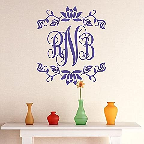 Beautiful Wall Stickers for Girls Wall Decal Name Custom Monogram Name with Flower Border Wallpaper H13 inches